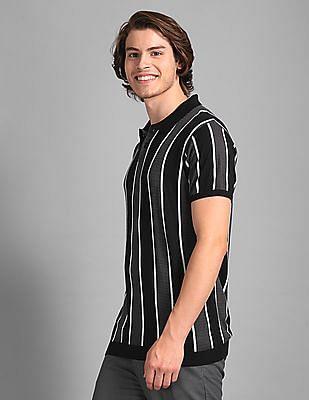 True Blue Black Slim Fit Vertical Stripe Polo Shirt