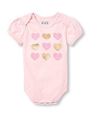 The Children's Place Baby Girls Short Sleeve 'Love My Family' Heart Graphic Little Talker Bodysuit
