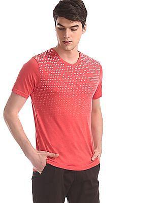 Cherokee Red V-Neck Geometric Pattern T-Shirt