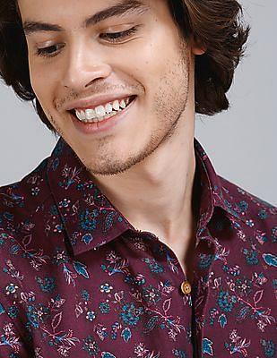 True Blue Red Allover Print Cotton Linen Shirt