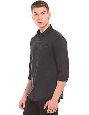 Ed Hardy Slim Fit Washed Chambray Shirt