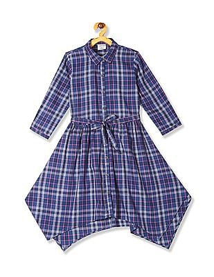 Cherokee Blue Girls Check Fit And Flare Dress