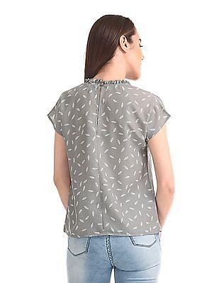 Elle Studio Ruffled Neck Leaf Print Top