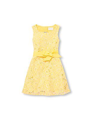 The Children's Place Girls Sleeveless Belted Lace Dress