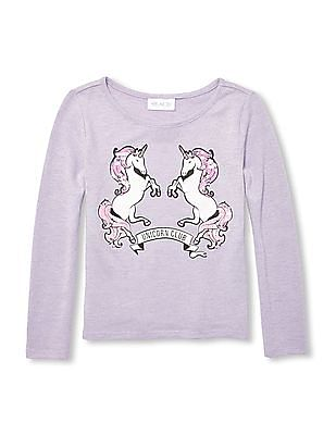The Children's Place Girls Long Sleeve Embellished Graphic Snit Top