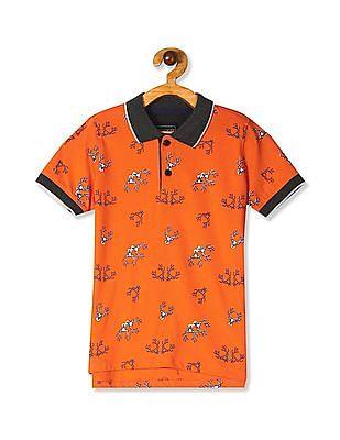 Cherokee Orange Boys Contrast Trim Cotton Polo Shirt