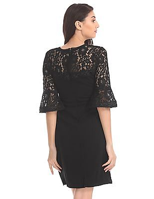 Elle Studio Lace Bell Sleeve Shift Dress