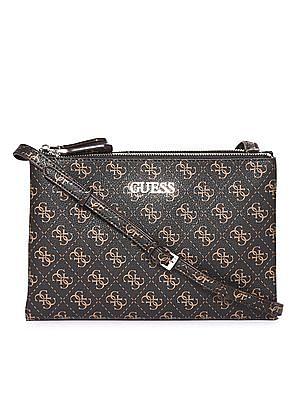 GUESS Textured Brand Print Sling Bag