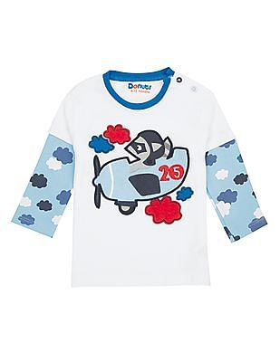 Donuts Boys Round Neck Applique Front T-Shirt