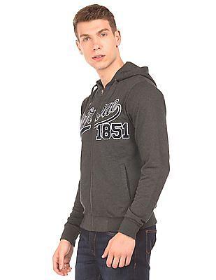 Arrow Sports Appliqued Front Hooded Sweatshirt