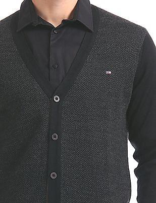 Arrow Sports Patterned Knit Wool Sweater