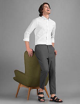 True Blue White Slim Fit Solid Shirt