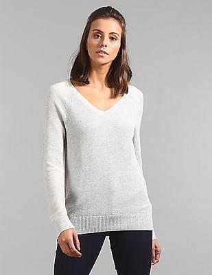 GAP Women Grey Long Sleeve V-Neck Sweater