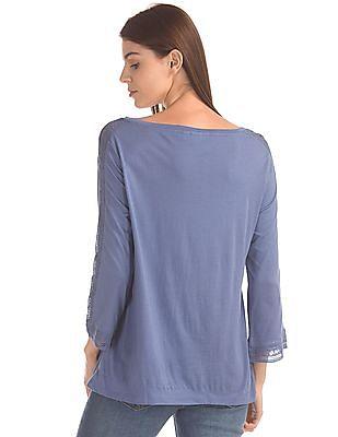GAP Women Blue Lace Trim Boxy Top