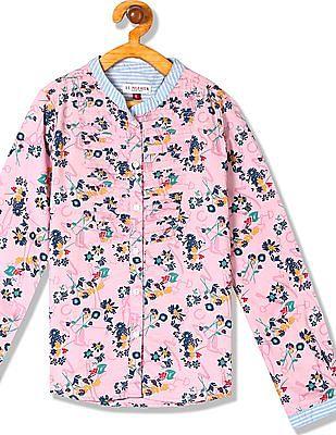 U.S. Polo Assn. Kids Girls Floral Print Long Sleeve Shirt