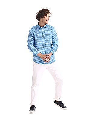 Roots by Ruggers Blue Semi Cutaway Collar Check Shirt