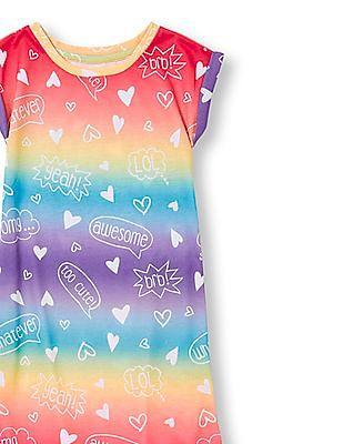 The Children's Place Girls Multi Colour Short Sleeve Conversation Print Hi-Low Nightgown