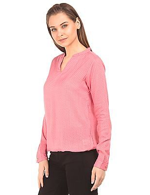 U.S. Polo Assn. Women Long Sleeve Elasticized Hem Top
