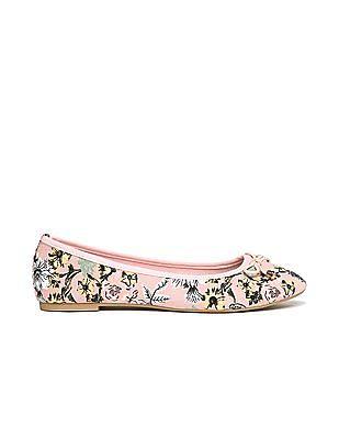 SUGR Round Toe Floral Print Ballerinas