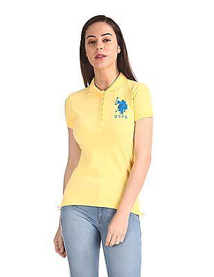 U.S. Polo Assn. Women Short Sleeve Solid Polo Shirt