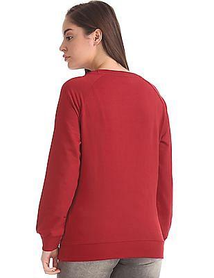 U.S. Polo Assn. Women Raglan Sleeve Brand Embroidered Sweatshirt