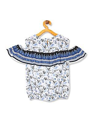 Cherokee Girls Printed Cold-Shoulder Top