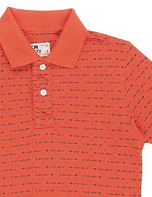 FM Boys Boys Printed Pique Polo Shirt