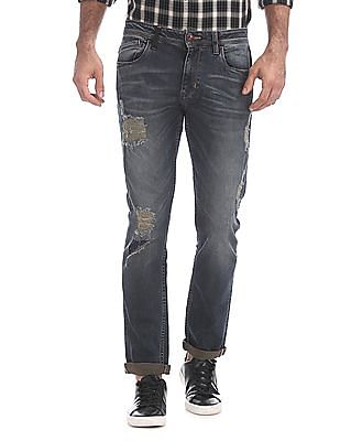 Ed Hardy Slim Fit Washed Distressed Jeans
