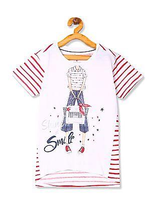 U.S. Polo Assn. Kids Girls Panelled Stripe Top