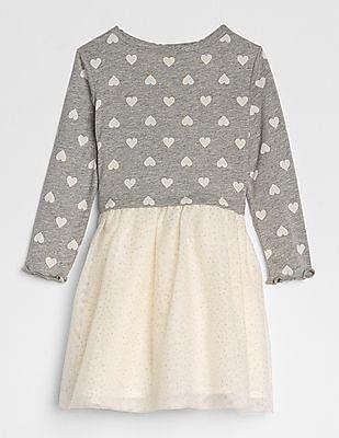 GAP Baby Grey Heart Mix-Fabric Dress
