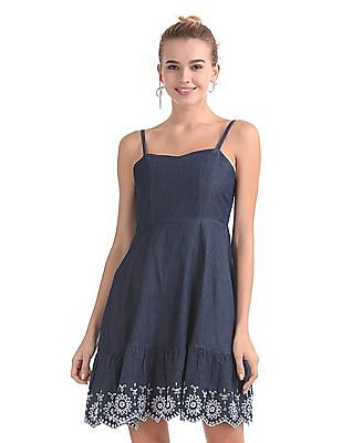 Aeropostale Embroidered Chambray Fit And Flare Dress
