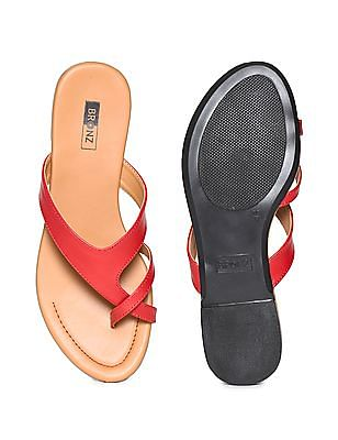 Bronz Crossover Strap Colour Block Sandals