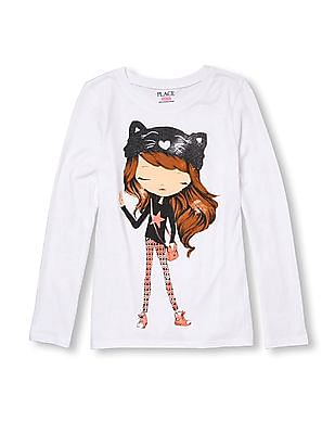 The Children's Place Girls Graphic Print Long Sleeve T-Shirt
