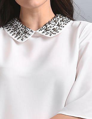 GAP Embellished Collar Sheer Flared Sleeves Top