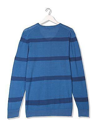 U.S. Polo Assn. Denim Co. Striped V-Neck Sweater