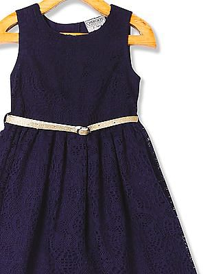 Cherokee Girls Belted Lace Dress