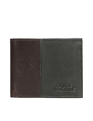 Flying Machine Brown Colour Blocked Leather Wallet