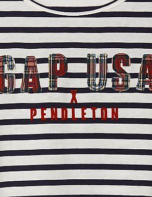 GAP Girls White Gapkids + Pendleton Striped Tee