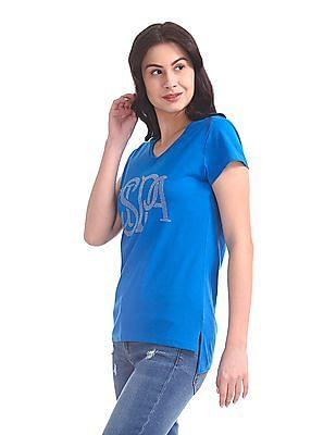 U.S. Polo Assn. Women V-Neck Studded T-Shirt