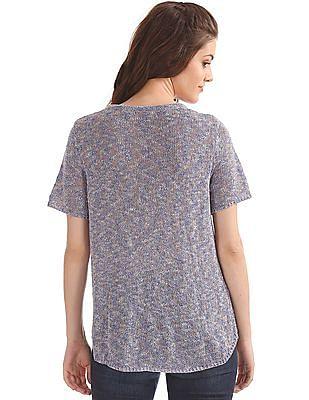 Elle Patterned Knit High Low Hem Top