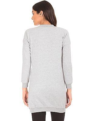 SUGR Distressed Foil Print Longline Sweatshirt