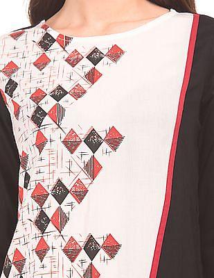 Karigari Colour Block Printed Kurta