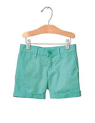 GAP Girls Green Solid Midi Shorts