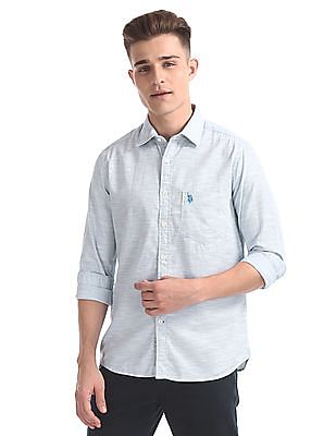 U.S. Polo Assn. Regular Fit Patterned Weave Shirt
