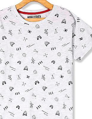 FM Boys Grey Boys Crew Neck Printed T-Shirt