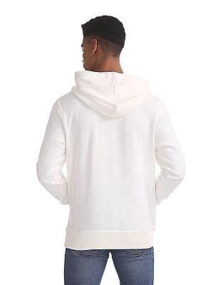 U.S. Polo Assn. White Printed Hooded Sweatshirt