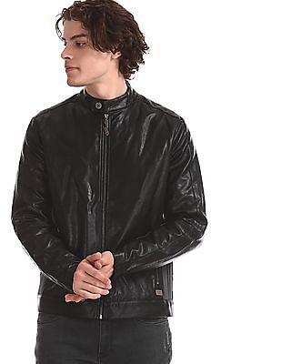 Ed Hardy Black Ribbed Panel Biker Jacket
