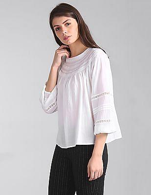 GAP Women White Smocked Lace-Trim Peasant Blouse Top