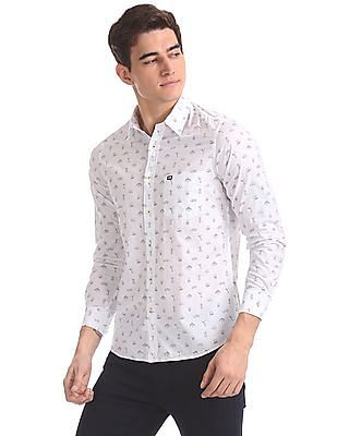 Arrow Sports White Slim Fit Patch Pocket Shirt