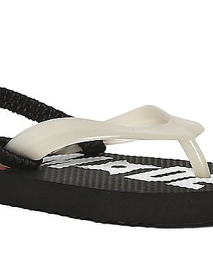 The Children's Place Black And White Baby V-Strap Printed Flip Flops